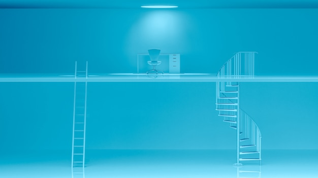 Blue ladders with different characteristics and work desk.