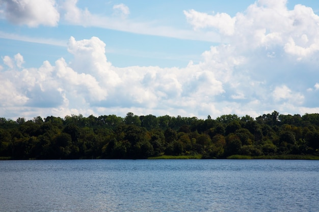 Blue lake blue sky and forest on the shore on a sunny summer day. outdoor recreation