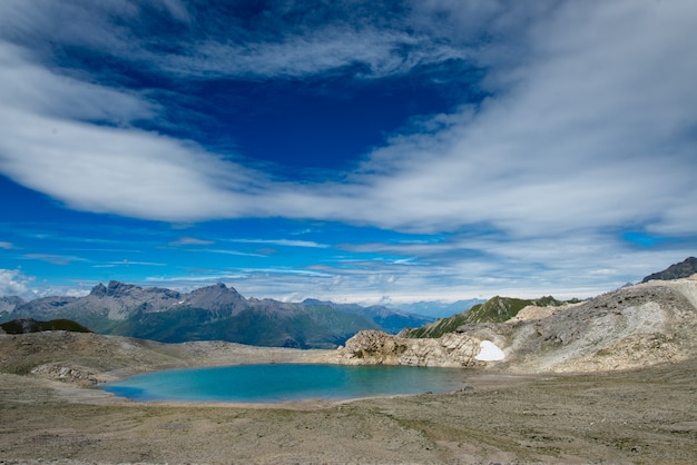 Blue lake of high mountains