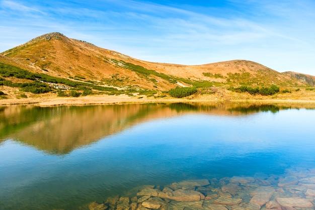 깊은 물에 반사와 산에 푸른 호수