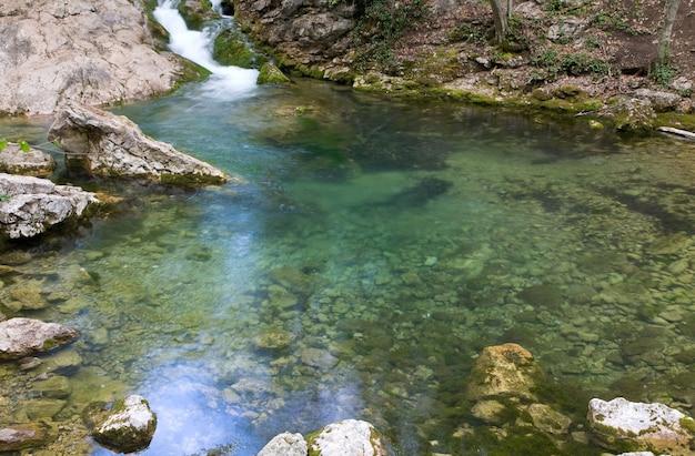 Blue lake on mountain river (great crimean canyon, ukraine)