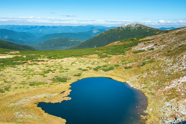 Blue lake in the mountains, aerial view
