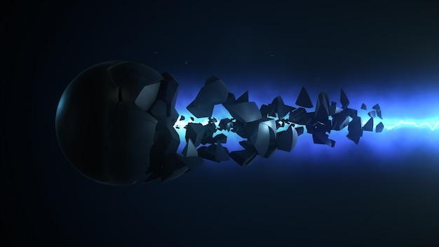青色レーザーは球体の3dレンダリングを破壊します