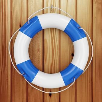 Синий спасательный пояс на шероховатых деревянных досках
