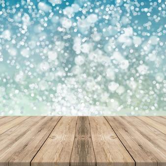 나무 테이블 제품 디스플레이와 푸른 빛 bokeh 배경
