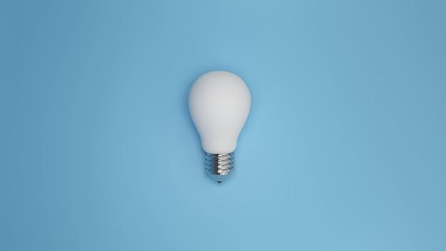 パステルカラーの明るい青色の背景に青い電球ミニマリズムコンセプトdレンダリングイラスト