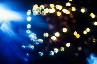 Blue light near shiny spots