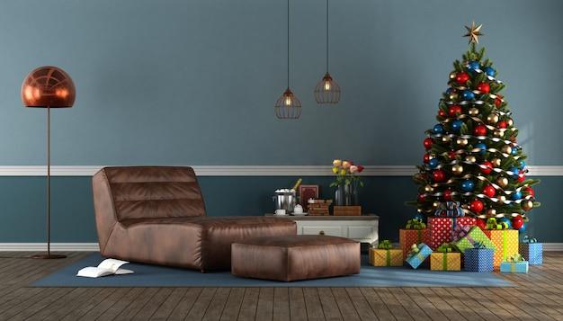 クリスマスツリーと青いリビングルーム