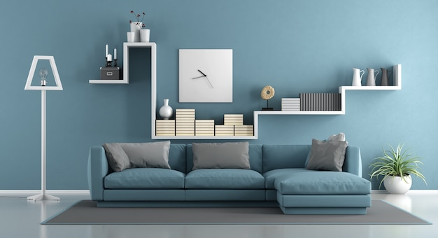 Blue living room with sofa and shelf. 3d rendering