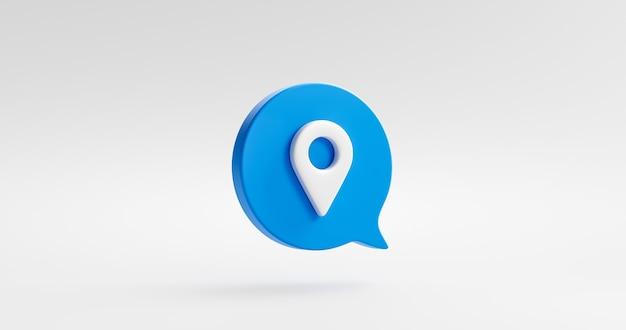 Символ значка пиктограммы синего местоположения или маркер карты указателя навигации контактный значок gps, изолированные на белом фоне с местом положения и плоским дизайном. 3d-рендеринг.