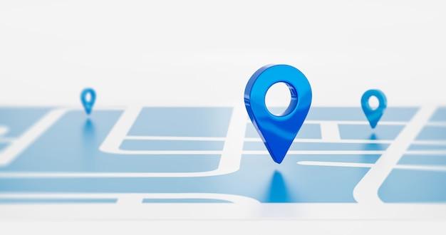 青い場所のシンボルピンアイコンサインまたはナビゲーションロケーターマップ旅行gps方向ポインターとマーカーは、ルートグラフィックロードマークの目的地の背景に位置ポイントのデザイン要素を配置します。 3dレンダリング。