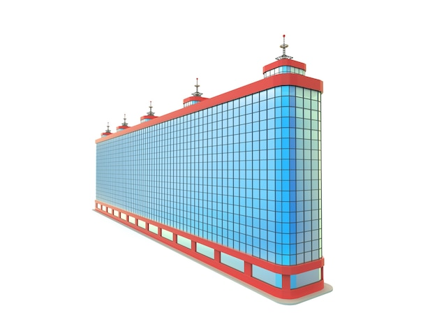 Blue long skyscraper stands on white