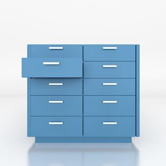 Blue  low cabinet .3d rendering