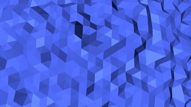 青い低ポリ抽象的な背景、三角形の幾何学的形状。ビジネスのためのエレガントで豪華なダイナミックスタイル、3dイラスト