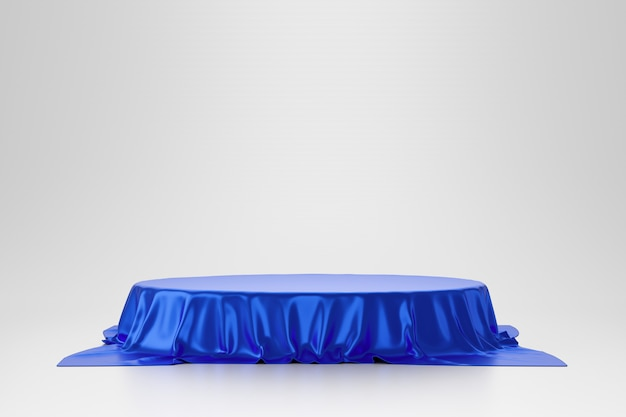 Blue luxurious fabric or cloth placed on top pedestal or blank podium shelf on white wall with luxury concept. museum or gallery backdrops for product. 3d rendering.