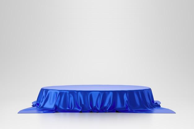 豪華なコンセプトの白い壁の上の台座または空白の表彰台の棚に置かれた青い豪華な生地または布。製品の博物館またはギャラリーの背景。 3dレンダリング。