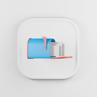 Blue mailbox icon with letters cartoon style.
