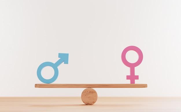 블루 맨 사인과 핑크 여성은 3d 렌더링을 통해 평등한 비즈니스 인권과 성별 개념을 위한 균형 나무 시소에 서명합니다.