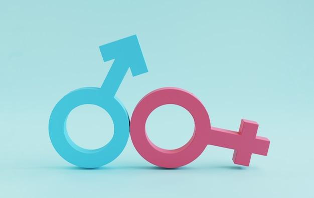 파란색 남자 기호와 분홍색 여자 기호는 3d 렌더링을 통해 평등한 비즈니스 인권과 성별 개념을 위해 파란색 배경에 서명합니다.
