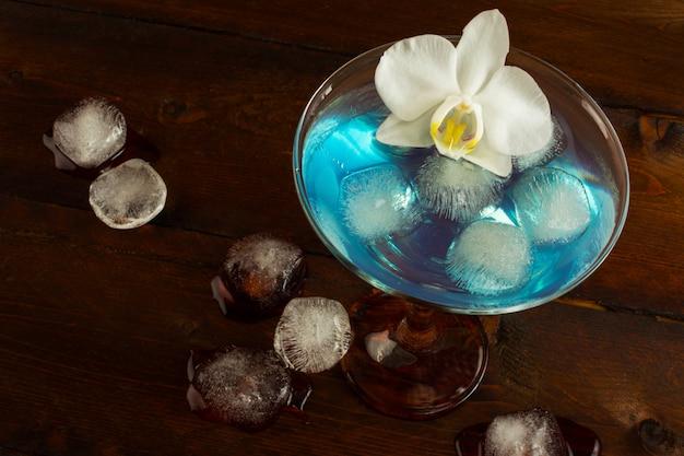 Blue margarita cocktail top veiw