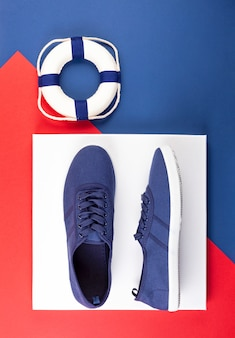Blue marine sneakers shoes