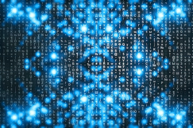 Blue matrix digital background.