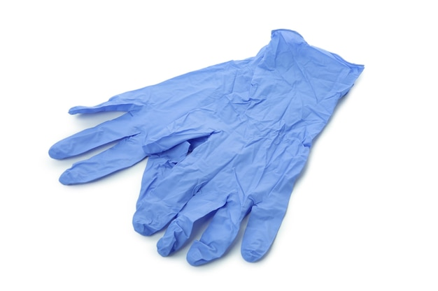 격리 된 흰색 배경에 고립 된 블루 의료 장갑