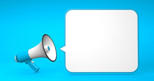 Синий мегафон и квадратный или прямоугольный пузырь на синем фоне шаблон с копией пространства