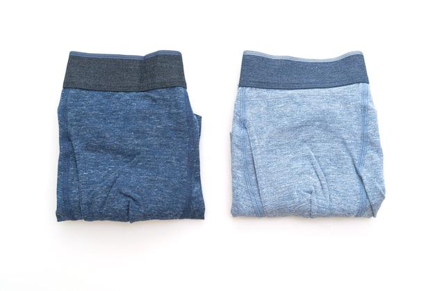 흰색 표면에 고립 된 블루 남성 속옷