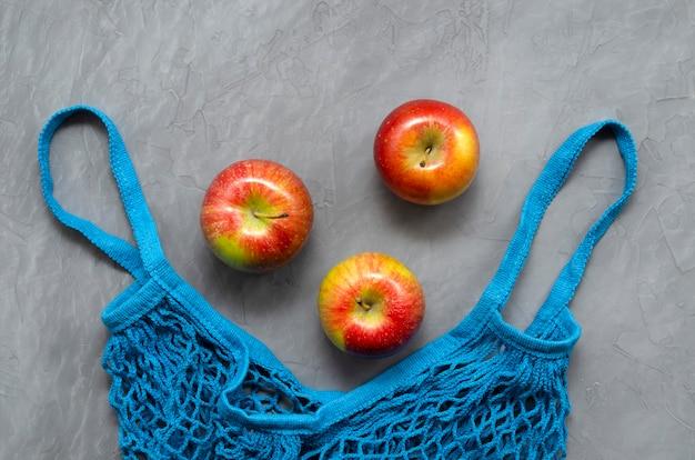 ブルーメッシュエコゼロウェイストショッピングバッグフルーツレッドアップル