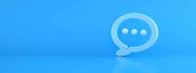 青い背景、3dレンダリング、パノラマ画像上の青いメッセージアイコン