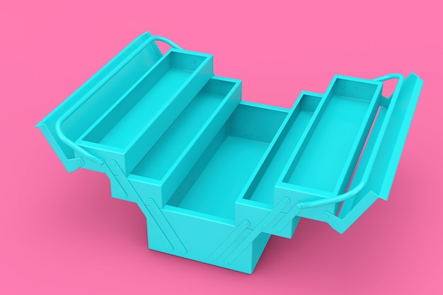 Ящик для инструментов blue metal classic в двухцветном стиле на розовом фоне. 3d рендеринг