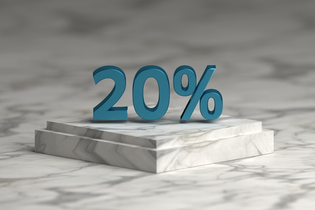 Blue metallic shiny 20 percent sign text. sale 20 % numbers over marble pedestal.