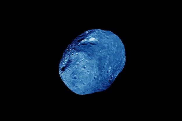 Синий метеорит на темном фоне. элементы этого изображения были предоставлены наса. фото высокого качества