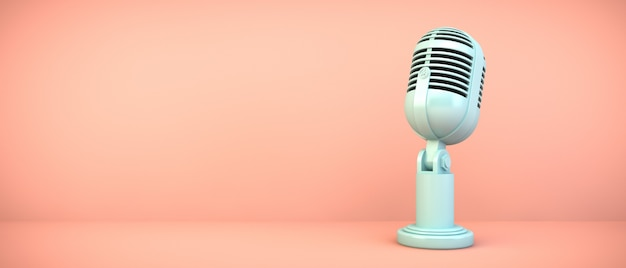 Blue microphone on pink room, 3d rendering