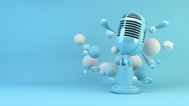Blue microphone surrounded by geometric shapes 3d rendering