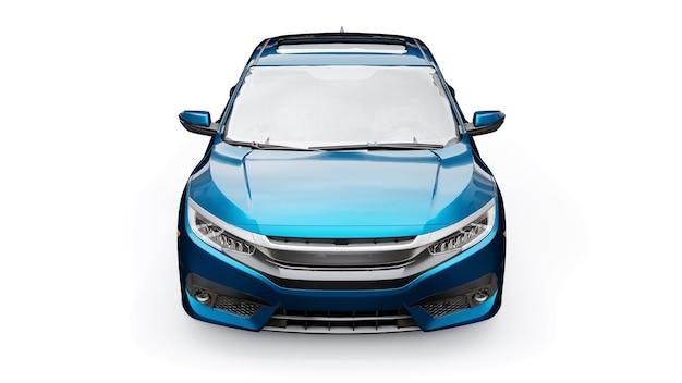 Blue mid-size urban family sedan on a white uniform surface