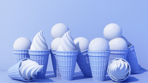 Blue milk ice cream with sweet wafer cone on blue color background minimal concept 3d rendering