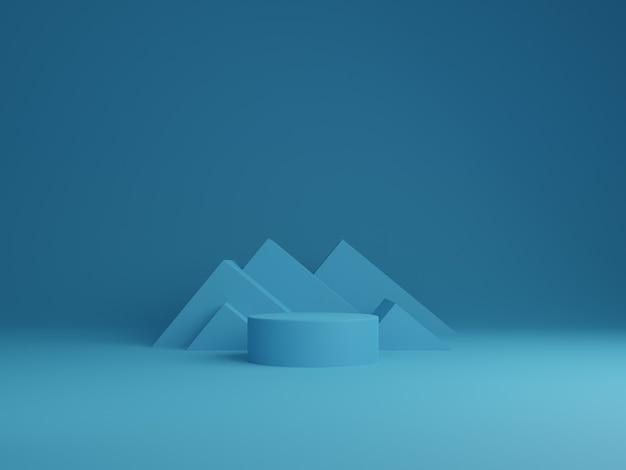 블루 최소한의 추상적 인 배경 실린더 연단 기하학적 모양, 제품에 대 한 단계. 3d 렌더링