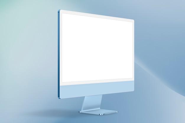 디자인 공간이 있는 파란색 최소 컴퓨터 데스크탑 화면 디지털 장치