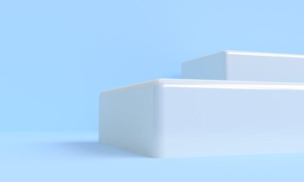 파란색 최소 스타일 3d 렌더링 모형 배경, 제품 표시를 위한 빈 선반 스탠드.