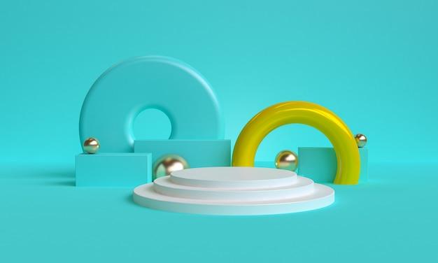 Синий минималистичный примитивный геометрический абстрактный фон, стильная модная иллюстрация подиум, стенд, витрина в пастельных тонах для премиум-продукта. 3d визуализация.