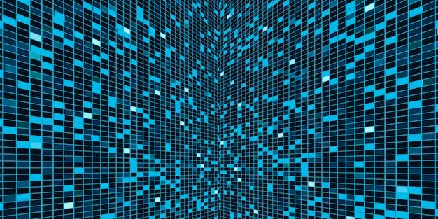 青混合緑の背景正方形のぼかし、正方形、抽象的なぼかしモザイク、科学、ビジネス、または技術の3dイラスト