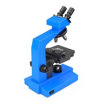 Синий современный лабораторный микроскоп на белом фоне. 3d-рендеринг.
