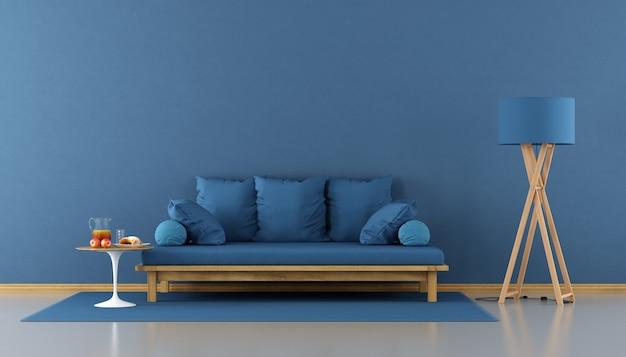 Синяя современная гостиная с диваном