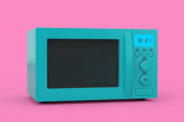 Blue modern microwave oven as duotone style on a pink background. 3d rendering