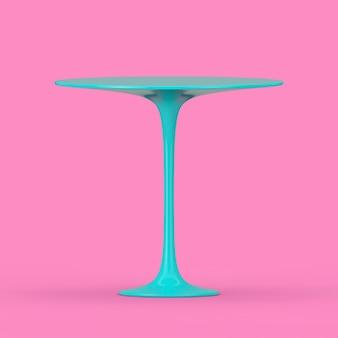 파란색 현대 플라스틱 원형 테이블은 분홍색 배경에 이중톤 스타일로 조롱합니다. 3d 렌더링