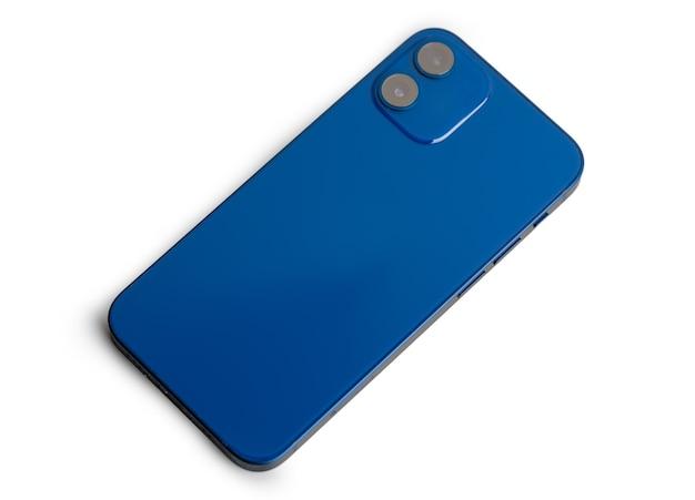 회색 표면에 doublelens 카메라와 함께 블루 현대 스마트 폰