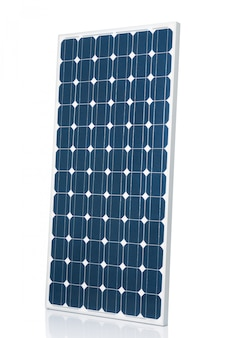 Blue modern solar panel isolated on white studio background