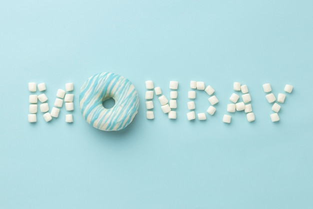 Blue monday arrangement with doughnut